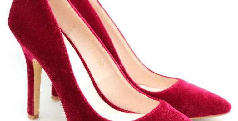 Pointed Toe Velvet High Heel (Red)