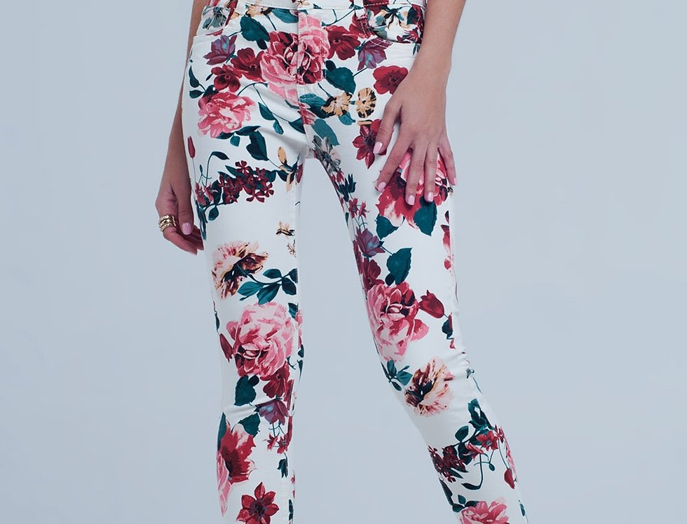 White Jeans With Roses Print