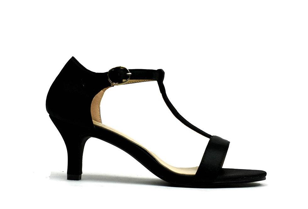 Open Toe Satin Sandal Black