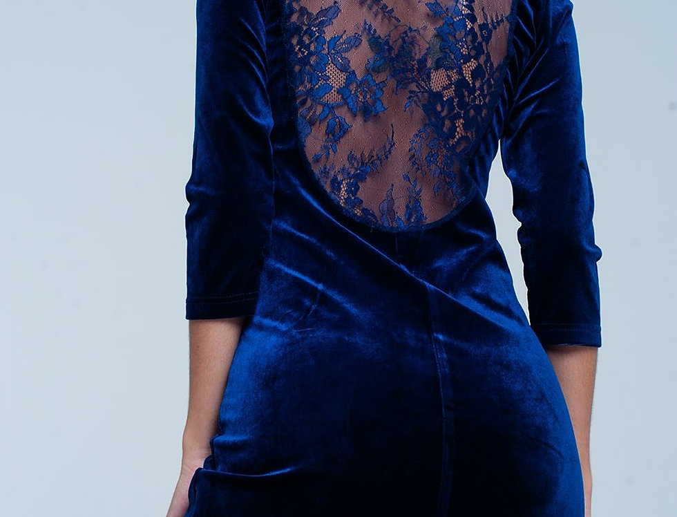 Dark Blue Velvet Mini Dress Open Back