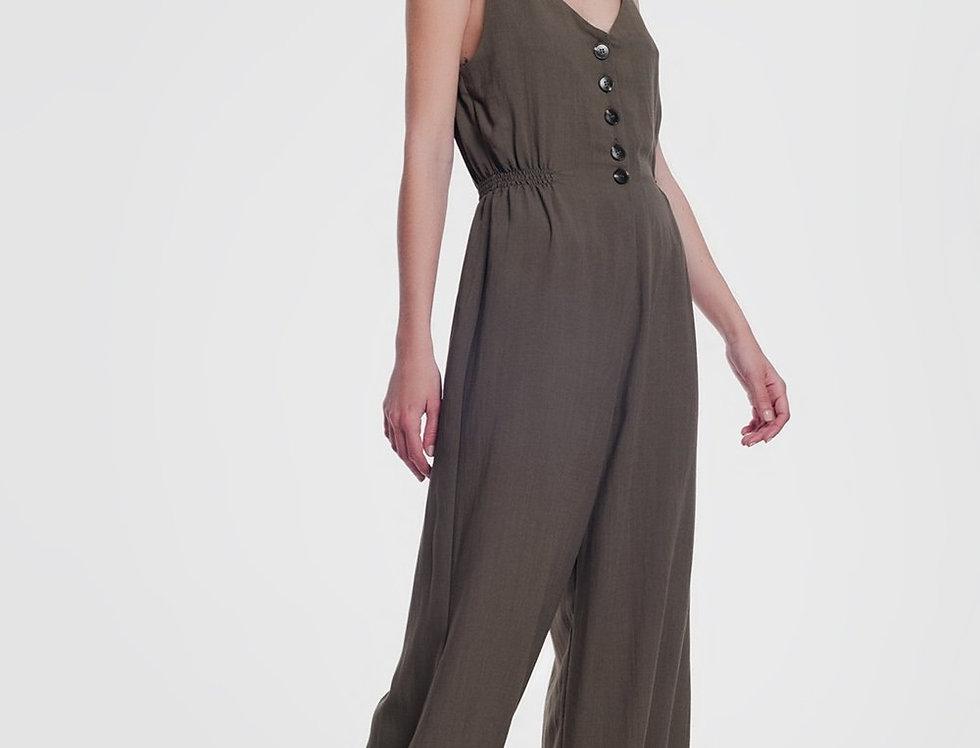 Khaki  Jumpsuit With Button Detail