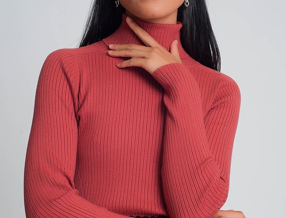 Soft Ribbed Sweater With Turtleneck in Coral