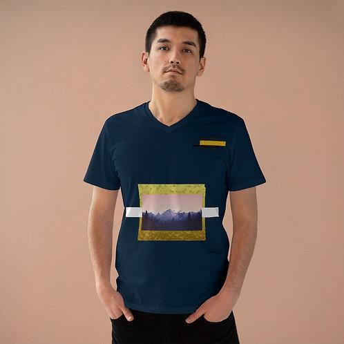 T-shirt à col en V pour hommes Bleu (MONT-GOLD)
