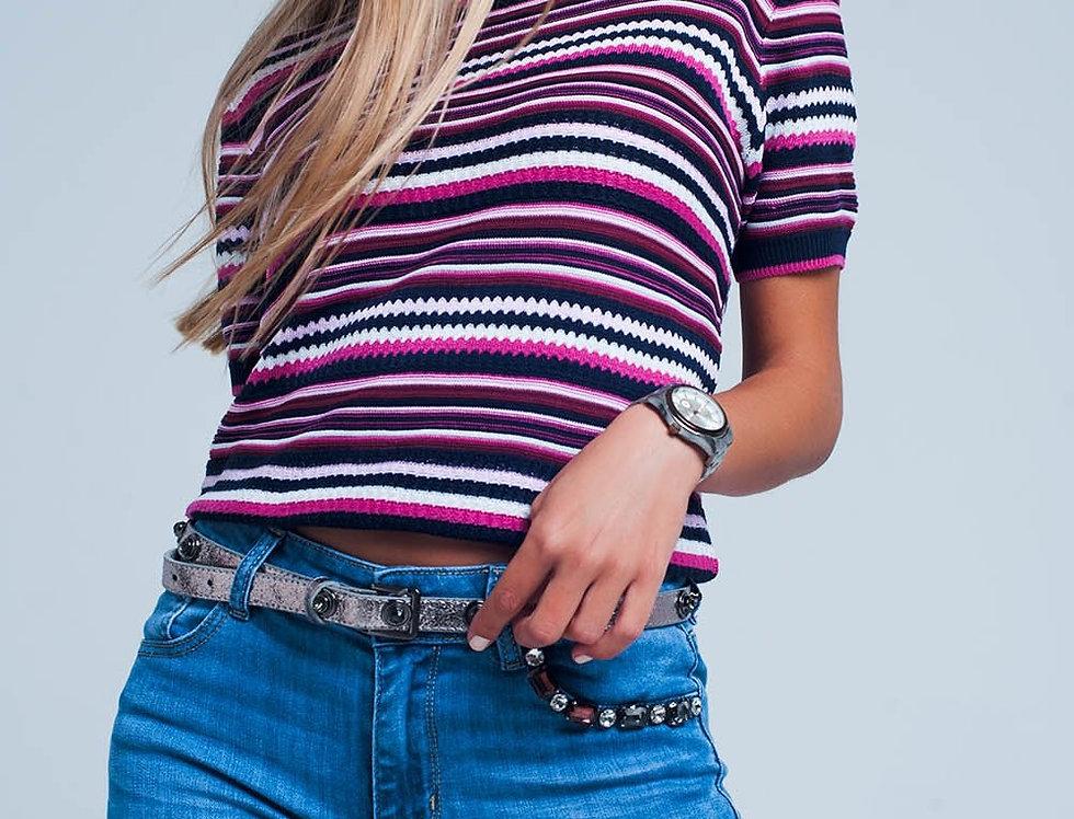Purple Multi Pattern Short Sleeve Sweater