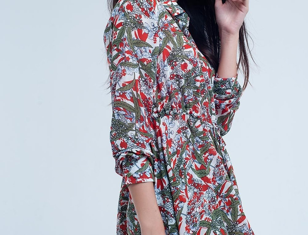 Red Shirt With Leaf and Flower Print