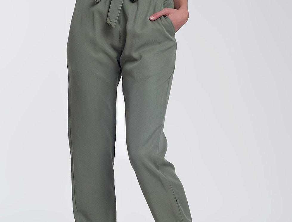 Pants With Tie Waist in Green