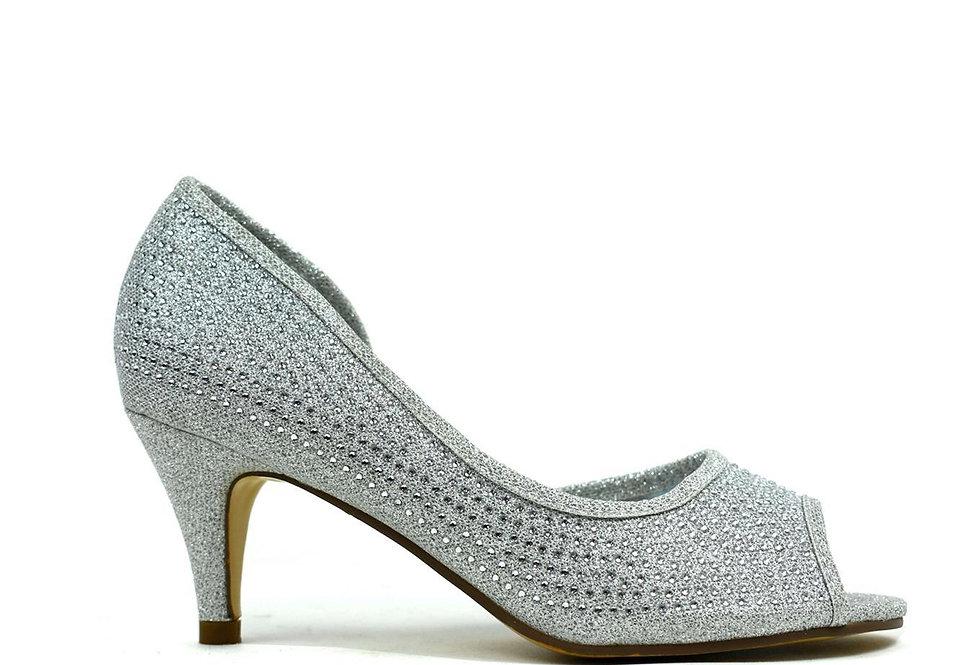 Open Side Kitten Heel  Silver