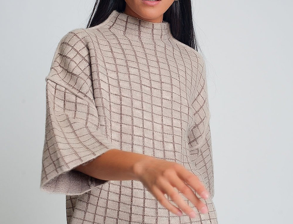 Fine Knit Sweater With High Neck in Beige Check Pattern