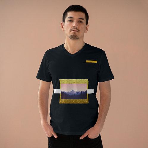 T-shirt à col en V pour hommes Noir (MONT-GOLD)