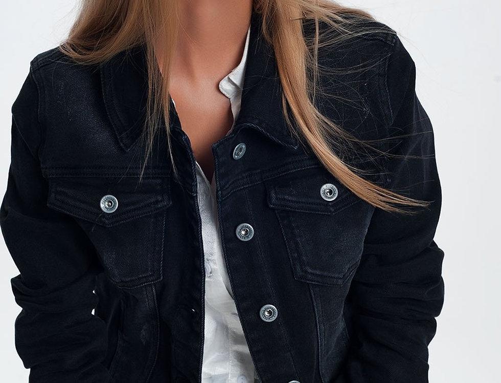 Denim Jacket in Washed Black