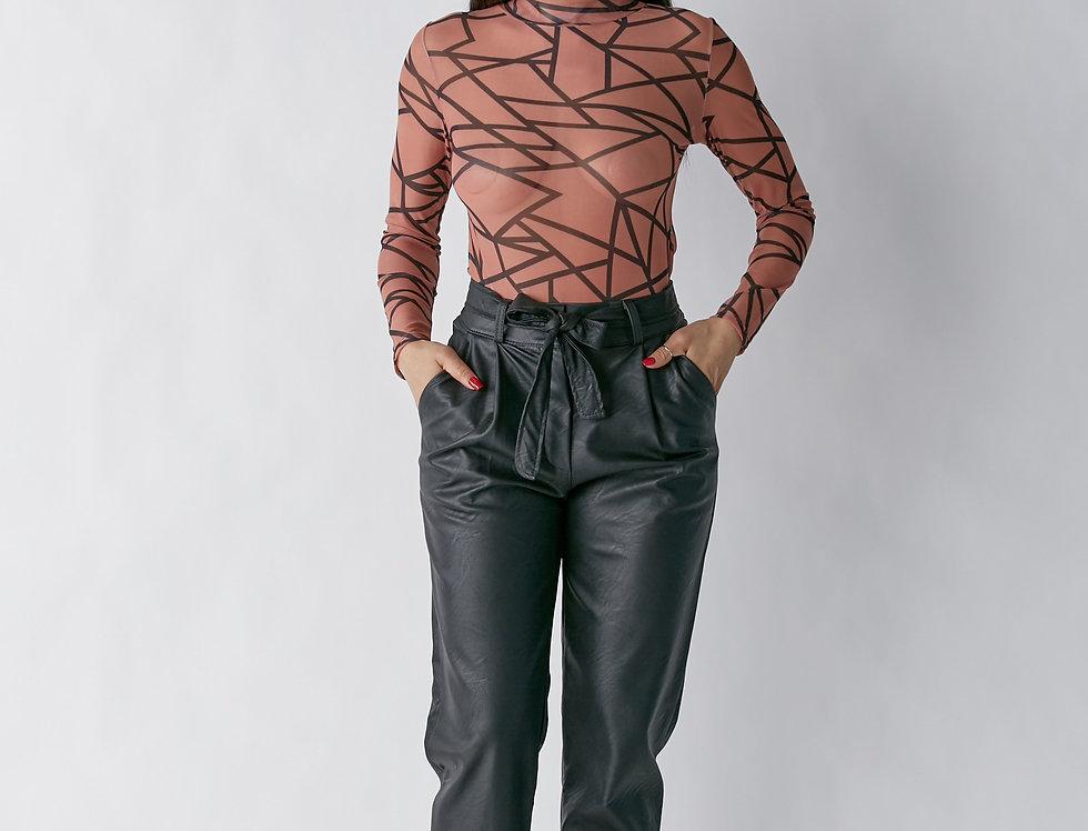Abstract Long Sleeve Bodysuit