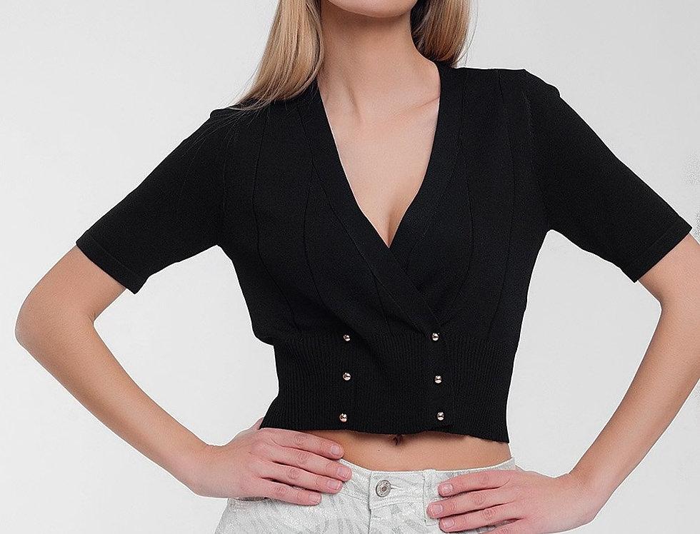 Knit Button Through Cardi Top in Black