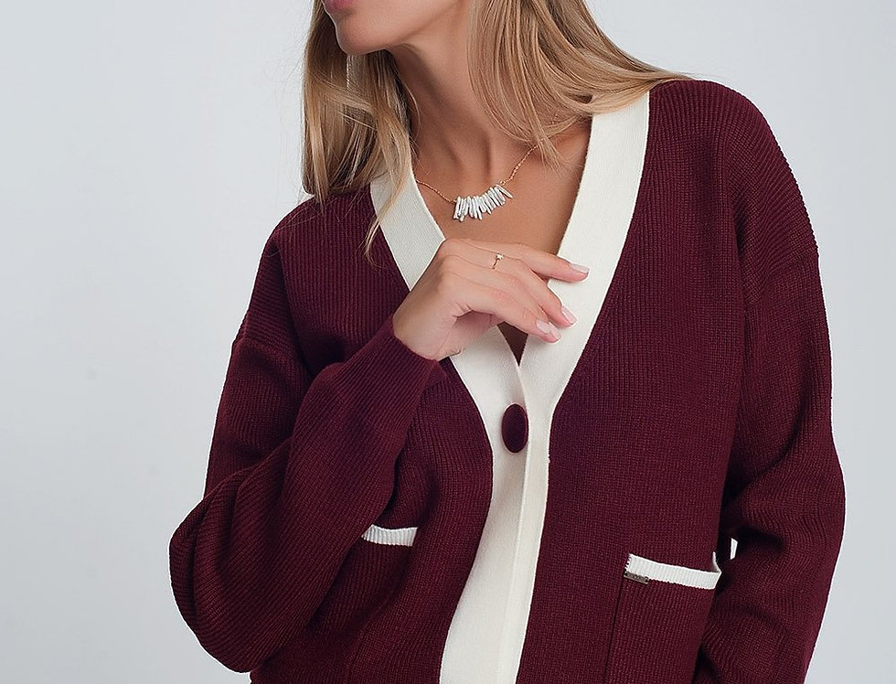Knitted Cardigan With White Details in Maroon