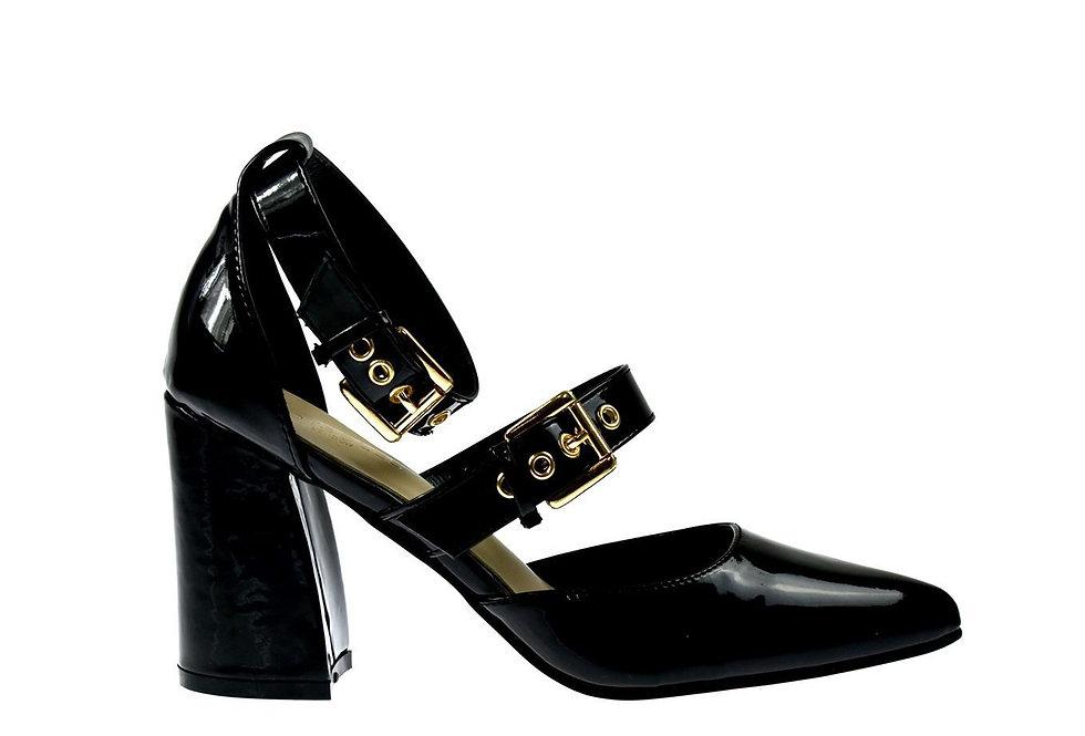 Macy Block Heel Ankle Strap Pointed Shoe Black