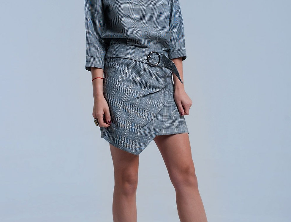 Gray Tartan Pattern Skirt With Buckle
