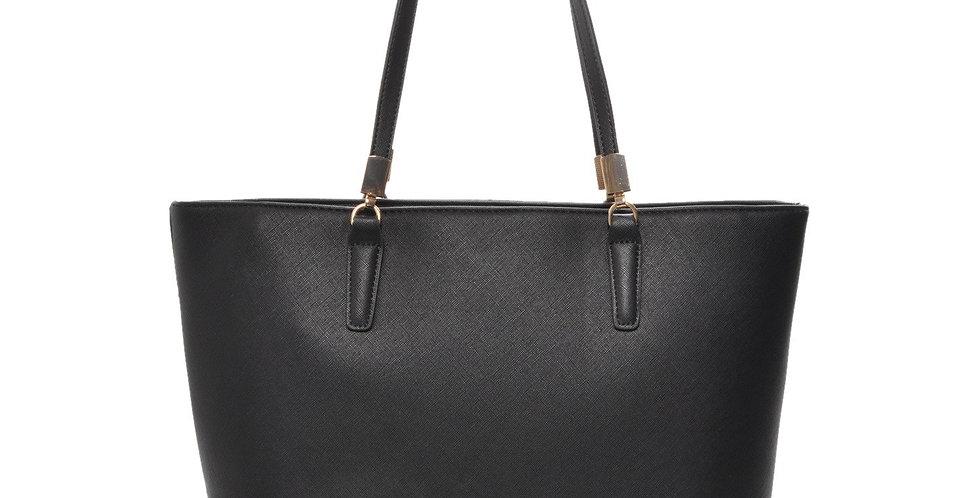 Mechaly Women's Sydney Black Vegan Leather Tote Handbag