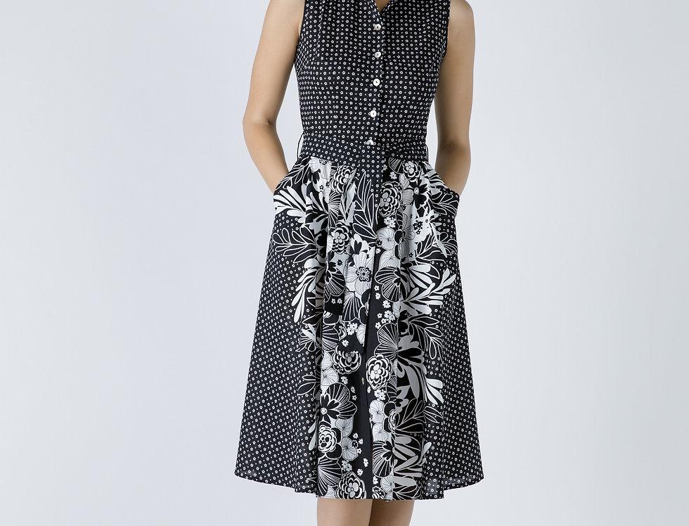 Button Detail Black Print Dress