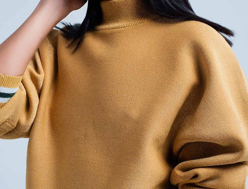 Mustard Glitter Sweater With Mock Neck