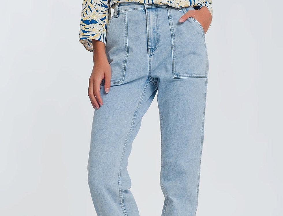 Pocket Detail Jeans in Light Denim