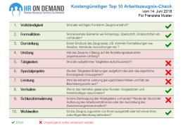 Kostenloser Top 10 Arbeitszeugnis-Check