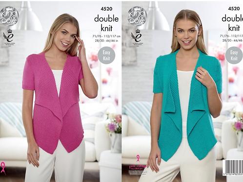 King Cole Ladies Cardigan  - DK Double Knit - Knitting Pattern - 4520