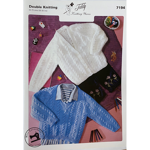 Teddy Baby Cardigan and Sweater  in Double Knit - 7194