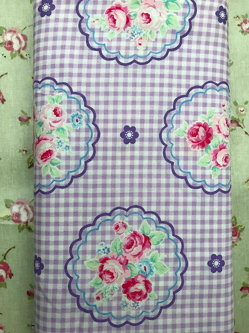 Lecien Fat Quarter  - Lilac Gingham Flower Fabric