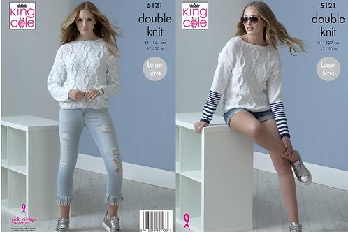 King Cole Ladies Sweater  - DK Double Knit - Knitting Pattern -5121
