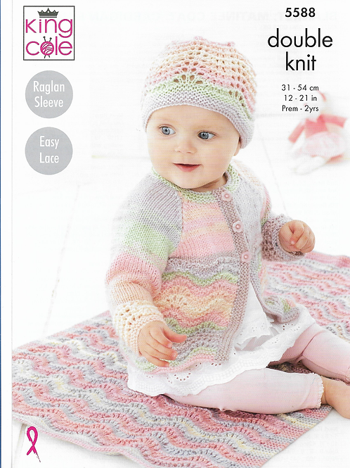 King Cole  Babies Cardigan, Hat and Blanket in Double Knit DK - 5588