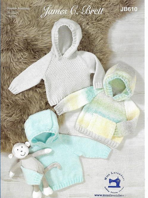 James C Brett Baby Cardigan/Hoodies Double Knit DK - Knitting Pattern JB610