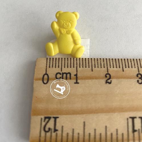 Yellow Teddy Bear Buttons 16mm