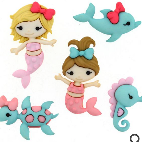 Dress it up Buttons - Mermaid Kisses 9320 - Childrens/Craft/Fun