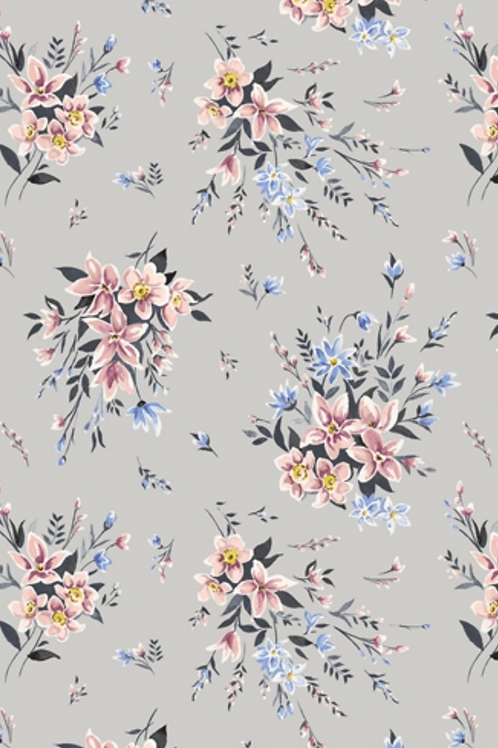 Liberty Winterbourne House - Bouquet Fabric - Grey 04775732/A