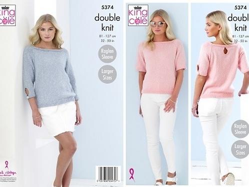 King Cole Ladies Sweater  - DK Double Knit - Knitting Pattern - 5374