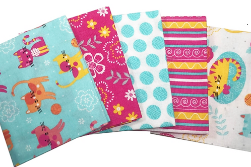 Cat on a Mat - Cotton Fat Quarters 5 Pack