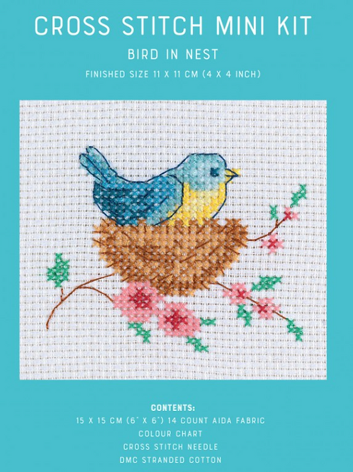 Counted Cross Stitch Mini Kit - Bird in Nest