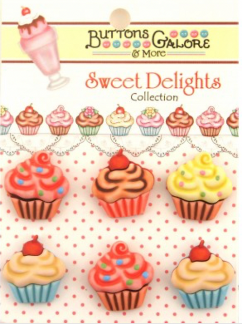 Buttons Galore - Cupcakes SD100 - Childrens/Craft Button