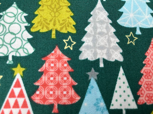 Makower Merry Trees Green Fabric - Christmas Trees