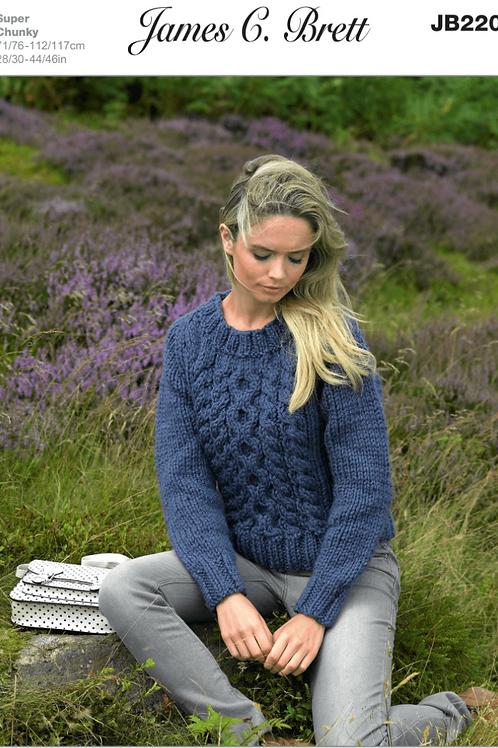 James C Brett Adult Super Chunky Sweater - Knitting Pattern - JB220