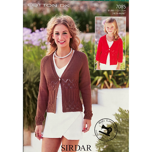 Sirdar Childrens and Ladies Cardigan - Double Knit -7085