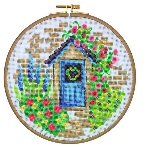Tuva Cross Stitch Kit with Wooden Hoop Summer Cottage