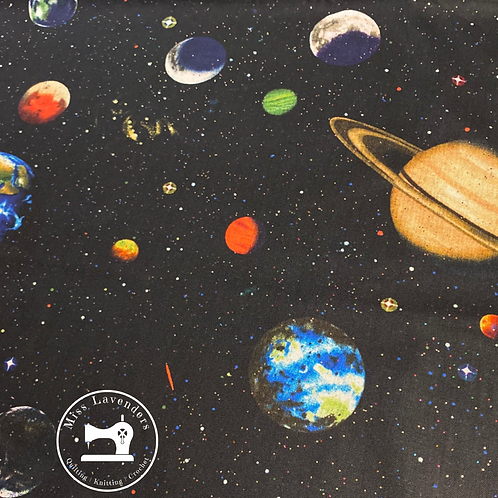 Solar System Planets 100% Cotton Fabric - Black Background with Glitter effect