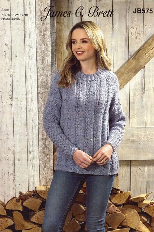 James C Brett Adult Aran Sweater - Knitting Pattern - JB575