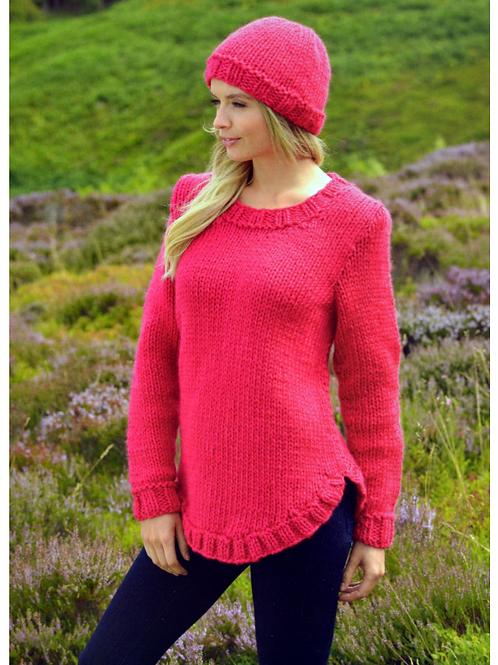James C Brett Adult Super Chunky Sweater & Hat - Knitting Pattern - JB218