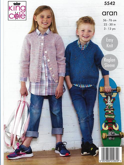King Cole Childrens Aran Cardigan & Sweater - 5542