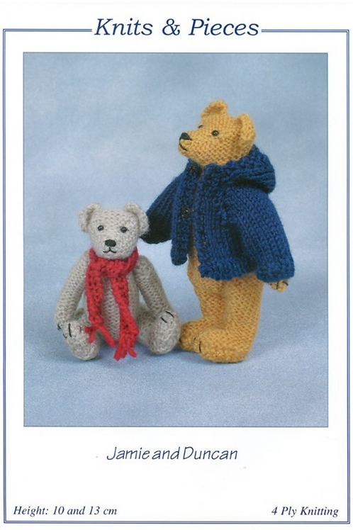 Knits and Pieces - Jamie and Duncan Teddy Bear Knitting Pattern - KP-10
