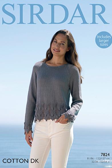Sirdar Cotton Ladies Sweater DK 7824