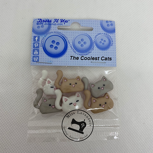 Dress it up Buttons - The Coolest Cats 10419  Childrens/Craft
