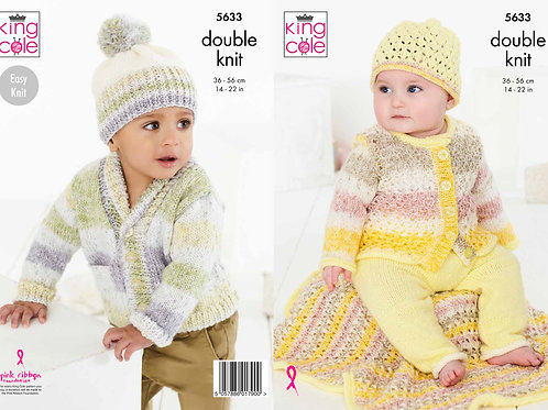 King Cole  Babies Cardigans, Trousers, Hats and Blanket  DK - 5633