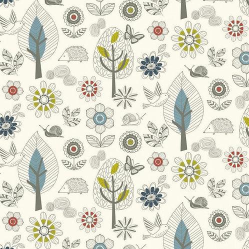 Cotton Enchanted Garden Fabric - Snails, Hedgehogs, Butterflies, Trees, Flowers